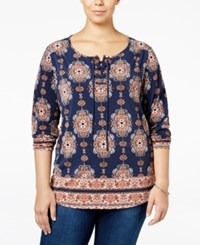 Styleandco. Style Co. Plus Size Lace Up Printed Top Only At Macy's Batik Bloom