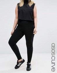 Asos Curve Stretch Skinny Trouser With Patch Pockets Black