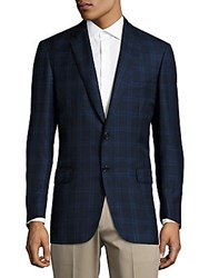 Brioni Plaid Wool Sport Coat Blue Black