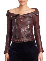 Faith Connexion Off The Shoulder Leather Jacket Red