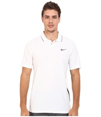 Nike Tiger Woods Velocity Woven Solid Polo White Black Reflect Black Men's Short Sleeve Knit