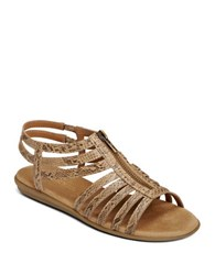 Aerosoles Clothesline Faux Leather Gladiator Sandals Tan Snake