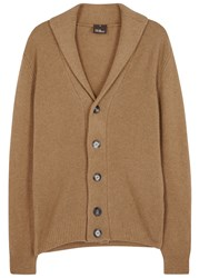 Oscar Jacobson Camel Hair Cardigan Brown