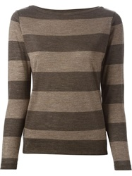 Eleventy Long Sleeve Striped T Shirt Brown