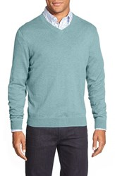 Men's Big And Tall Nordstrom Cotton And Cashmere V Neck Sweater Blue Skyway Heather