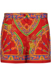 Dolce And Gabbana Printed Cotton Shorts Red