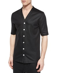 Helmut Lang Cotton Button Down Baseball Jersey Shirt Black