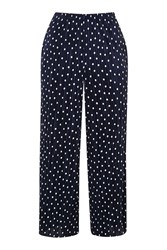 Topshop Pleated Crop Trousers Navy Blue