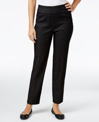 Alfred Dunner Pinstriped Pull On Pants Black