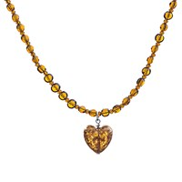 Martick Sparkle Heart And Crystal Pendant Necklace Amber
