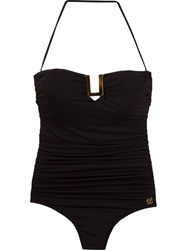 Brigitte Bandeau Drapped Swimsuit Black