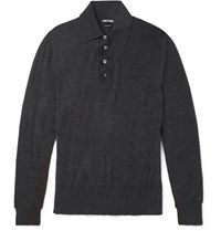 Tom Ford Slim Fit Cashmere Polo Shirt Charcoal