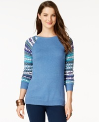 American Living Fair Isle Sleeves Sweater Only At Macy's Nordic Blue Heather Multi