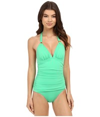 Tommy Bahama Pearl Halter Cup One Piece Clearwater Green Women's Swimsuits One Piece
