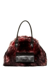 Y 3 By Adidas Toile Faux Fur Bowling Bag Red