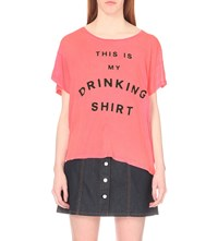 Wildfox Couture Drinking Shirt Cotton T Shirt Neon Sign Pink