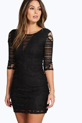 Boohoo All Over Lace Panelled Bodycon Dress Black