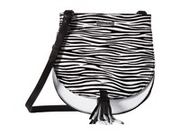Just Cavalli Leather Zebra Suede Saddle Bag White Cross Body Handbags
