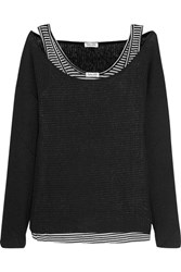 Splendid Bardane Layered Ribbed Knit And Striped Jersey Top Black