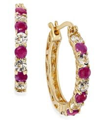 Victoria Townsend Ruby 1 1 5 Ct. T.W. And White Topaz 1 1 10 Ct. T.W. Hoop Earrings In 18K Gold Over Sterling Silver 23Mm No Color