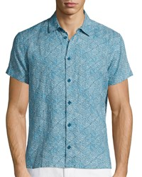 Orlebar Brown Batik Print Short Sleeve Linen Shirt Teal Blue Size Medium