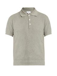 Brioni Waffle Weave Cotton Polo Shirt Grey