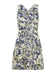 Mela Loves London Hawaiian Floral Print Dress Blue