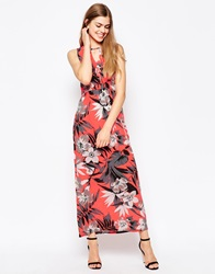 Daisy Street Maxi Dress In Neon Floral Print Neonfloral