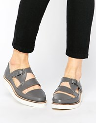 Park Lane T Bar Chunky Leather Flat Shoes Grey