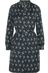 A.P.C. Atelier De Production Et De Creation Irene Printed Silk Twill Mini Dress Midnight Blue