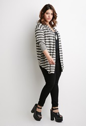 Forever 21 Striped Open Front Cardigan Oatmeal Black
