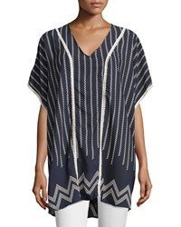 On The Road Patterned Crochet Trim Dolman Sleeve Tunic Top Navy