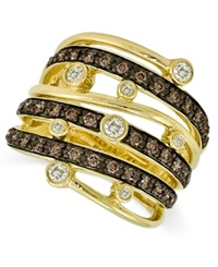 Le Vian Chocolate And White Diamond Multi Row Ring 3 4 Ct. T.W. In 14K Gold