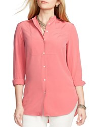 Lauren Ralph Lauren Petite Crepe Button Up Tunic Faded Rose