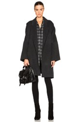 Helmut Lang Double Face Wool Cape In Gray