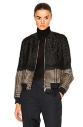 3.1 Phillip Lim Needle Punch Bomber Jacket In Black Checkered And Plaid Black Checkered And Plaid