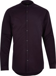 River Island Mens Dark Purple Slim Fit Grandad Shirt