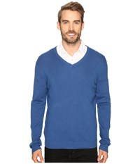 Calvin Klein Cotton Modal V Neck Sweater Open Water Heather Men's Sweater Blue