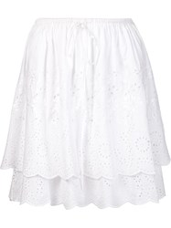 Suno Lace Layered Skirt White