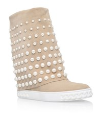 Casadei Chaucer Pearl Embellished Wedge Boots Female Beige