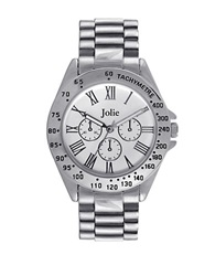 Jolie Ladies Silvertone Watch With Chain Link Bracelet