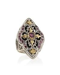 Silver And 18K Gold Rhodolite Marquise Flower Ring Konstantino Silver Gold