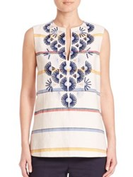 Tory Burch Avery Sleeveless Tunic Ivory Multi