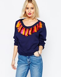 House Of Holland Boat Neck Sweatshirt With Tassels Navy