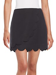 1.State Scalloped Wrap Mini Skirt Rich Black