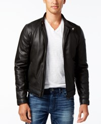 Guess Men's Perforated Faux Leather Jacket Jet Black A996