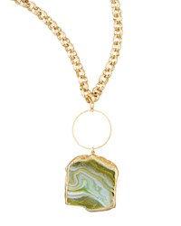Hammered Agate Pendant Necklace 33'L Devon Leigh Green