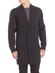 Vince Wool Blend Long Cardigan Coat Heather Shadow