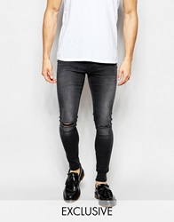 Exclusive To Asos Waven Jeans Extreme Super Skinny Fit Mid Rise Washed Black Ripped Washedblack