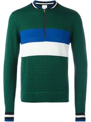 Paul Smith Puppytooth Zip Neck Sweater Green